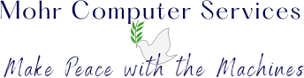 Mohr Computer Services - Make Peace with the Machines with illustrated dove with olive branch